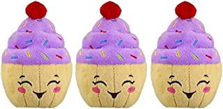 PetSport 3 Pack of Tiny Tots Happy Birthday Cupcake Plush Dog Toys with Squeakers, 4.5 Inch