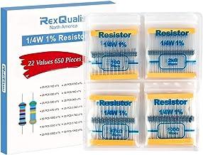 REXQualis Resistor Kit, 650 Pieces 22 Values 1/4W 1% Resistor Assortment Kit, 10 Ohm - 1M Ohm (Pack of 650)
