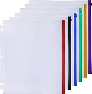 Antner 6 Colour Zippered Binder Pockets Letter Size Binder Pouch Folders for 3-Ring Binder Loose Leaf Bags, 6PCS Waterproof Document Filing Bags