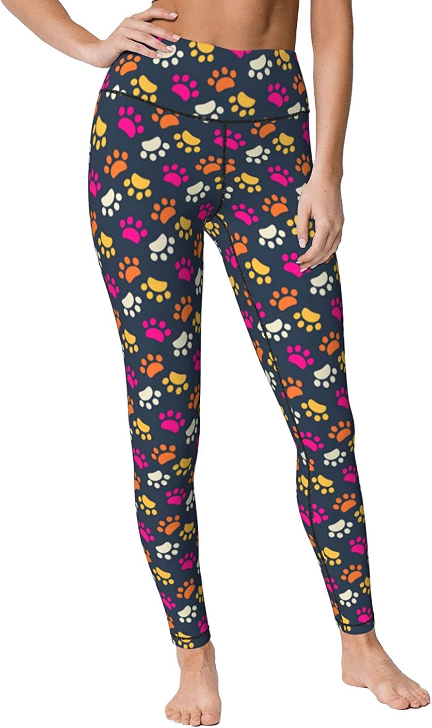 Dog Footprint Animals Max 58% OFF Womens Outstanding High Waisted Yoga Pants Summer Sof