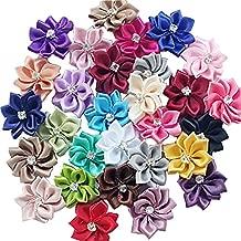 DANDAN DIY Upick More Than 26 Colors 40PCS Satin Ribbon Flowers Bows Rose w/ Rhinestone Appliques Craft Wedding Dec (Multi-color)