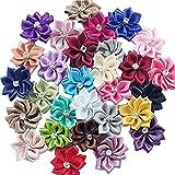 Libiline Upick More Than 26 Colors 40PCS Satin Ribbon Flowers Bows Rose w/Rhinestone Appliques Craft Wedding Dec (Multi-Color)