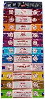 Satya Lot d'encens 12 x 15 g Comprenant : Nag, Super Hit, Oodh, Vibes positives, Namaste, Champa, Opium, Reiki, Guérison s...