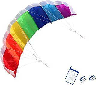 kizh Kite Rainbow Dual Line Kites Easy Flyer Kite for Beach Park Garden for Adults 55 Inch with Two Free Kite String Line Board