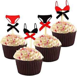 20 Pack Glitter Underwear Cupcake Toppers Sexy Themed Fashion Bachelorette Party Decorations Bridal Shower Wedding Cake Toppers Girls