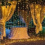 OxyLED LED Lichtervorhang Aussen 3x3m,306 LED Sterne Lichterkette Vorhang,IP44 wasserdicht 8 Modi...