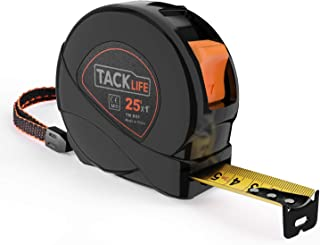 Measuring Tape, Tape Measure 25Ft(8m) Tape Ruler Metric and Inches with Movable Hook, Nylon Coating, Wrist Strap for Construction, Home, Carpentry Measurement - TM-B05