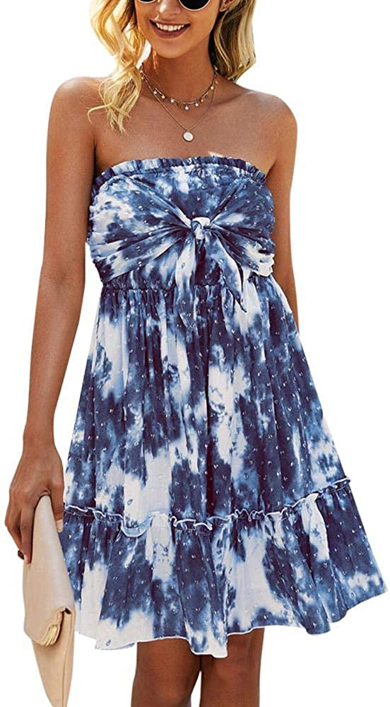 Women Tie Dye Dress Off Shoulder One Piece Summer Strapless Short Dresses