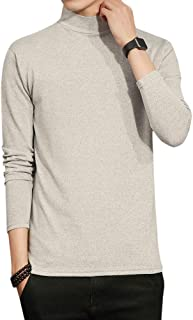 Sliktaa Mens Thin Pullover High Collar Sweatshirts Long Sleeve Casual Slim Fit Cotton 5 Colors Tops Polo T-Shirts