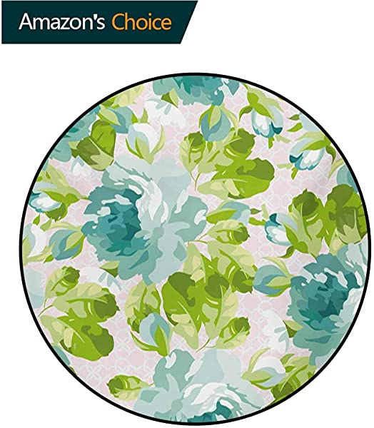 RUGSMAT Shabby Chic Carpet Gray Round Area Rug Tropical Botany Garden Theme Blue Roses Leaves And Bouquets Pattern Floor Seat Pad Home Decorative Indoor Diameter 71 Inch Turquoise Green Pale Pink