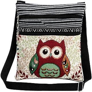 Tinksky Vintage Canvas Zipper Bag Owl Printed Bohemian Crossbody Bag Satchel Women Shopping Pouch