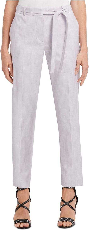DKNY Womens Purple Zippered Pinstripe Straight Leg Pants Size 14P