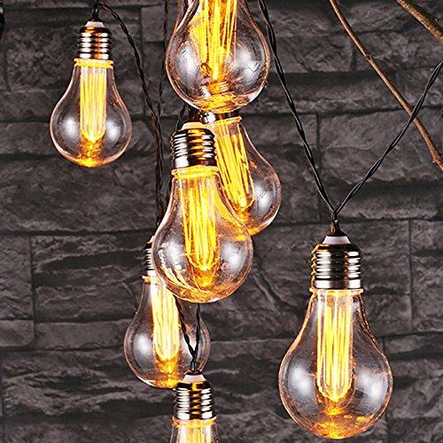 Glühlampen LED Lichterkette 10Glühlampen klar warmweiß 230V Dekobeleuchtung