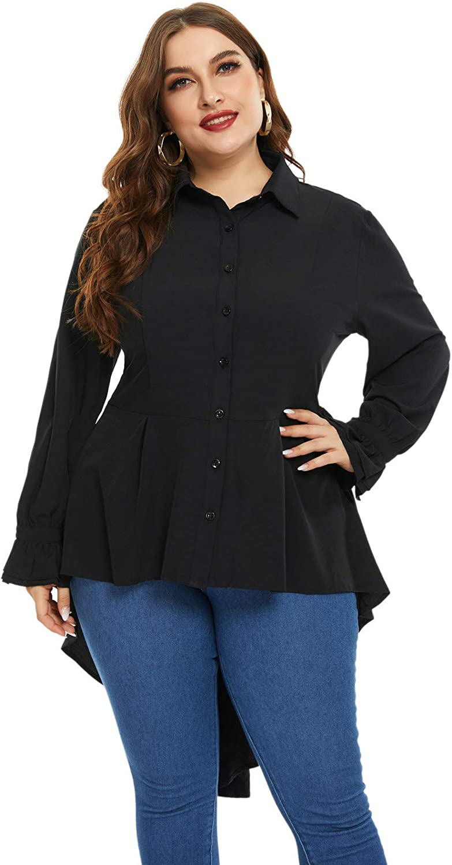 Hanna Nikole Women's Plus Size Victorian Blouse High Low Hem Renaissance Blouse Buttons Shirt