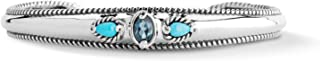 Sterling Silver Sleeping Beauty Turquoise and Amethyst or Turquoise and Topaz 3-Stone Cuff Bracelet Size S, M or L