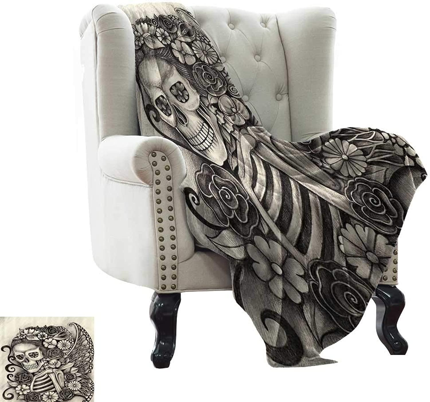 Day of The Dead Decor,Throw Blankets for Couch Spanish Mexican Festive Theme Skeleton Girl with Flowers Print 70 x50  Blanket Warm Winter Sofa Beige and Dimgrey