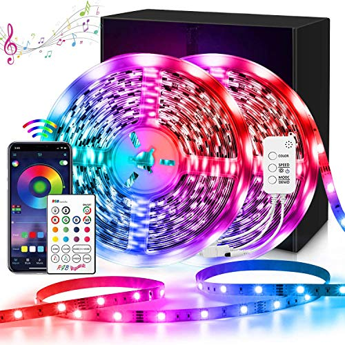 LED Strip Lights,Wrrlight 32.8ft APP Control Smart Led Lights SMD 5050 RGB Color Changing LED Light Strip with Bluetooth Controller Sync to Music Apply for TV,Bedroom,Party and Home Decoration