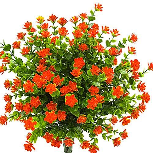 Houda - 4 piante di eucalipto artificiali in plastica con rami di gipsofila viola, per casa, ufficio, giardino, patio, cortile, decorazione per interni ed esterni Arancione 01.