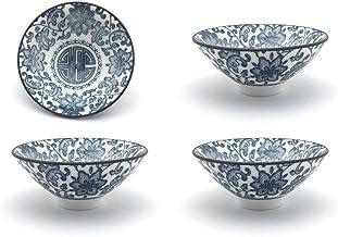 مجموعة فناجين الشاي، QMFIV، كوب سيراميك صيني تقليدي أزرق وأبيض 4، 100cc .5 أوقية ، أفضل هدية