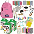 Fujifilm Instax Mini 11 9 8 90 70 Camera Accessories - Travel Kit -Backpack Shoulder Bag,Fuji Instant Film (60 Sheets), Lens Cloth, Strap, Washi Tape, Stickers,Frames,Album-Flamingo Pink