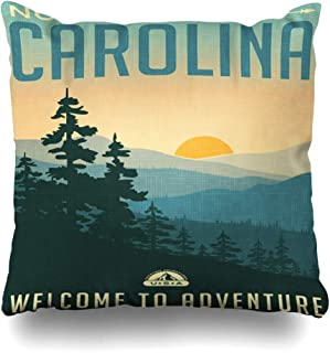 DIYCow Throw Pillows Covers Vintage Retro Style Travel Sticker United States North Carolina Great Smoky Mountains Park Landscape Home Decor Pillowcase Square Size 20 x 20 Inches Cushion Case