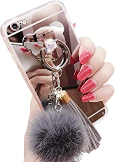 iPhone 6 / 6s Case, Luxury Fur Ball Soft Rubber Bumper Bling Diamond Glitter Mirror Makeup Case with Bear Ring Stand Holder for Girls (Gray, iPhone 6 / 6s)