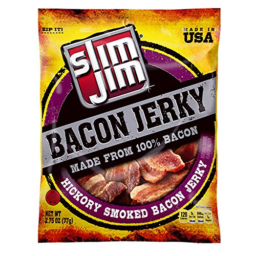 Slim Jim Bacon Jerky, Hickory Smoked Flavor, 2.75 Oz. Bag (Pack of 8)