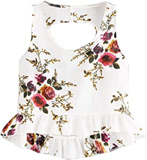 VESKRE Women's Summer Chiffon Floral Print Tank Tops Hollow Out Sleeveless