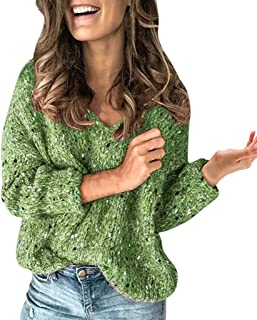 Lataw Women Sweater Fashion Tops Casual Thick Regular Long Sleeve Oversize V-Neck Pullover Knit Loose Costume Blouses