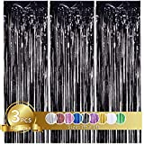 3 Pcs Black Metallic Tinsel Foil Fringe Curtains,3ft x 8ft Black Photo Booth Backdrop Curtain,Photo Booth Props,Ideal Bachelorette Party Supplies,Birthday,Graduation, Christmas,New Year Decorations