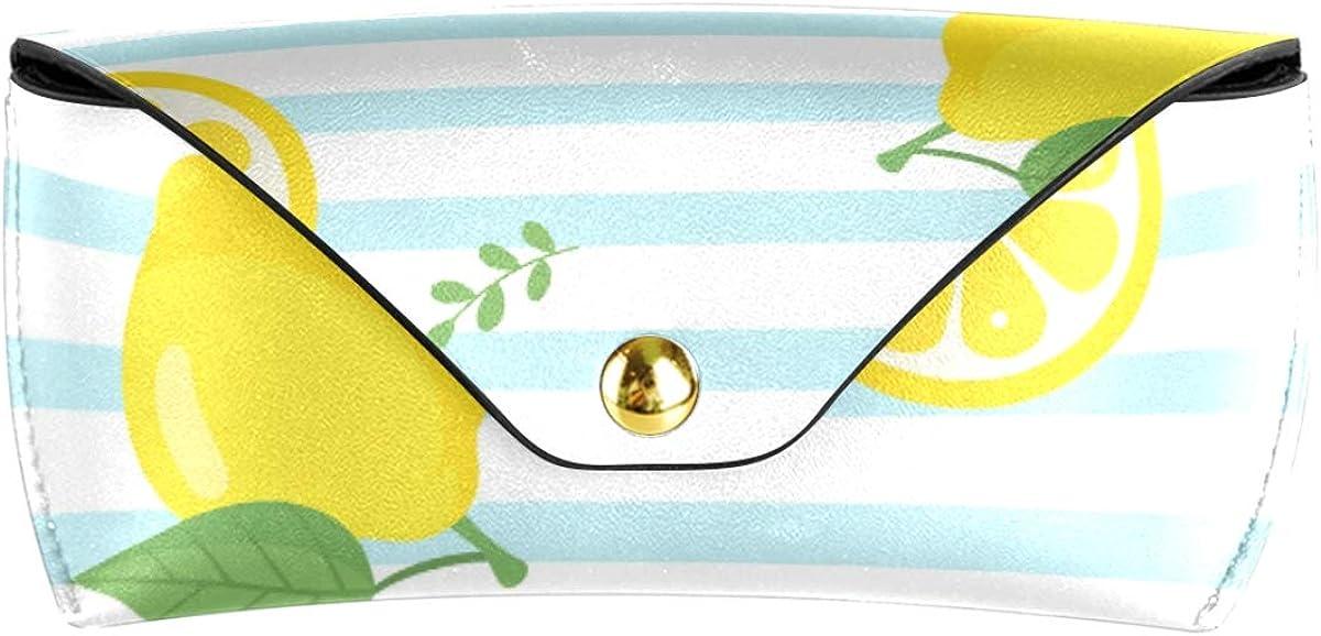 Sunglasses Case Eyeglasses Pouch present PU Leather Multiuse Portable Lemon Fruit Stripe Goggles Bag