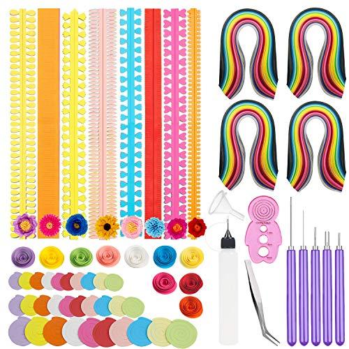 Woohome 122 Stück Papier Streifen Quilling Werkzeug Set, Papier Quilling Handgemachte Blumen Design Papier Kunst Quilling für Handwerk, Haus Dekoration