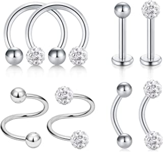 8 Pcs Stainless Steel Ear Helix Tragus Daith Conch Cartilage Earring Nose Rings Hoop CZ Nose Piercing Twist Spiral Barbell Curved Barball Lip Studs Body Jewelry