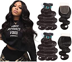 Brazilian Human Hair Body Wave Bundles with Closure (14 16 18+12 closure, Natural Black), 8A Brazilian Virgin Hair Body Wave Bundles with Lace Closure Free Part