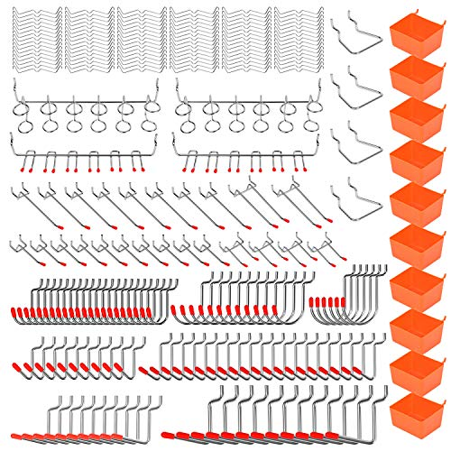 HORUSDY 228-Piece Pegboard Hooks Set, Pegboard Hooks Assortment for Organizing Various Tools