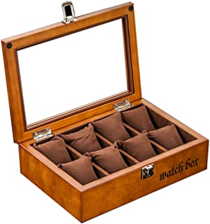 Luxury Premium Watch Storage Box Jewelry Display Storage Box with Glass Top Wooden Watch Display Box Gifts Box for Men and Women