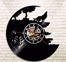 Hanjiming 1 Piece Wolf Vinyl Record Wall Clock Creative Classic Home Decor Animals Handmade Cd Time Clock Wall Clock Wolf Lover Gift