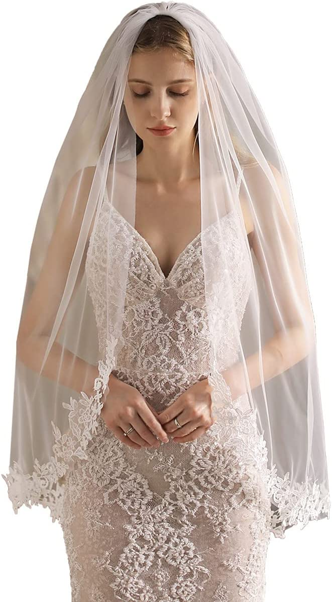 JZJZ Bride Wedding Max 41% OFF Veil 1 Tier Veils Safety and trust Headp Tulle Edge Lace