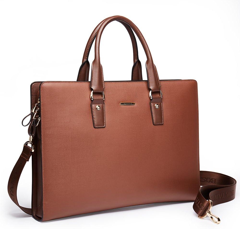 BOSTANTEN Leather Briefcase Max 76% OFF Shoulder Laptop Business Slim Bag fo Tulsa Mall