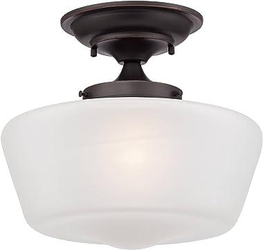 """Schoolhouse Floating Ceiling Light Semi Flush Mount Fixture Bronze 12"""" White Glass for Bedroom Kitchen - Regency Hill"""
