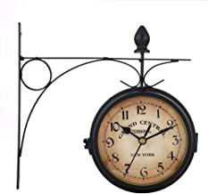 HEYJUDY Relógio de parede de ferro forjado dupla face, relógio de quartzo HD, relógio flutuante, vidro silencioso, design ...
