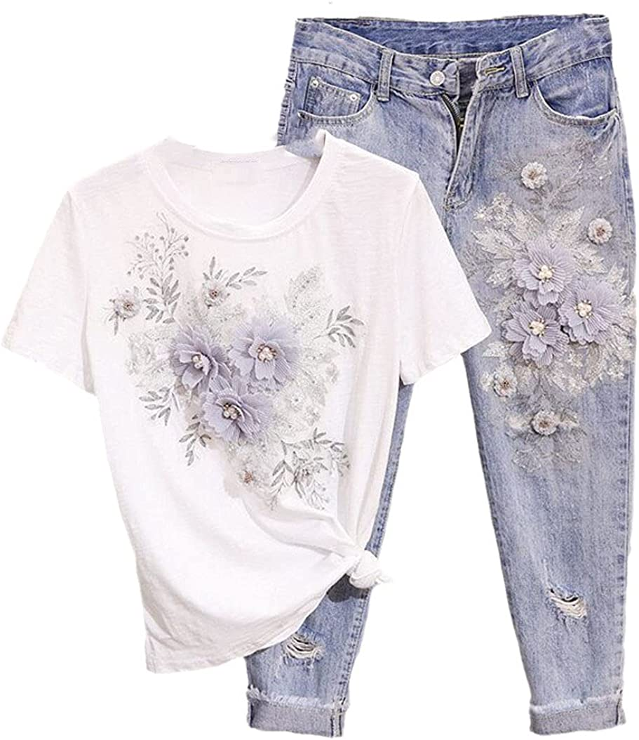 2 Piece Set Women Pearl Flower Embroidery Short Shirts + Hole Jeans Casual Suits