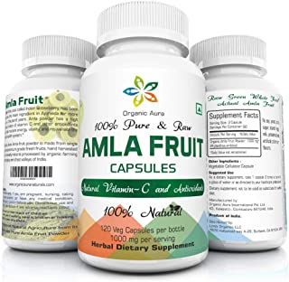 Organic Aura AMLA Capsules. 1000mg per Serving, 120 Veg Capsules. Natural Vitamin C and Antioxidants. Raw Whole Superfood....