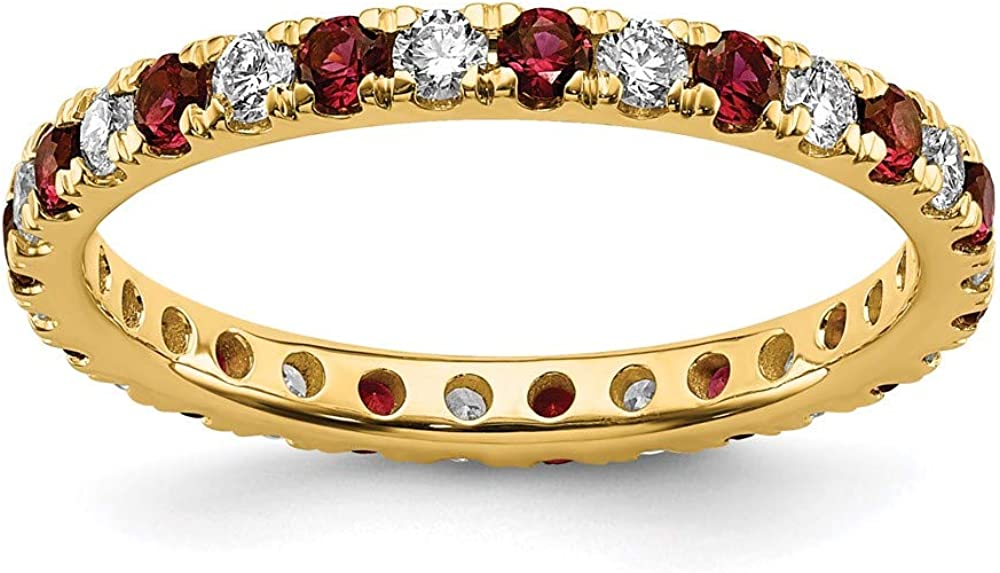 14k Yellow Gold Lab Grown Diamond Si1/si2 G H I Created Red Ruby Eternity Wedding Ring Band Size 8.00 Gemstone Et Style Fine Jewelry For Women Gifts For Her