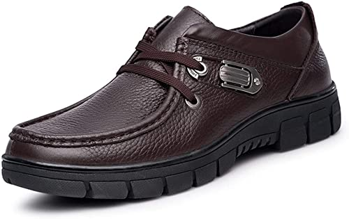 Affaires Oxford for Hommes Décontracté Décontracté Mocassins Chaussures à Lacets En Cuir Véritable Anti Slip Bague En Métal Décor ExpériHommesté Cousu Cosse Semelle Bout Rond Mocassins ( Couleur   Marron , Taille   44 EU )