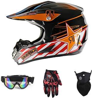 Handschuhe, Schutzbrille, Schutzmaske, 4-teiliges Set SanQing Motorrad-Sturzhelm Renn Motocross Fahrradhelm Vier Jahreszeiten universal Jugend Kinder Dirt Bike Helme