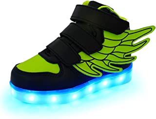 sexphd Wings Led Light Up Shoes 11 Colors Flashing Rechargeable Sneakers Ankel Boots for Kids Boys Girls