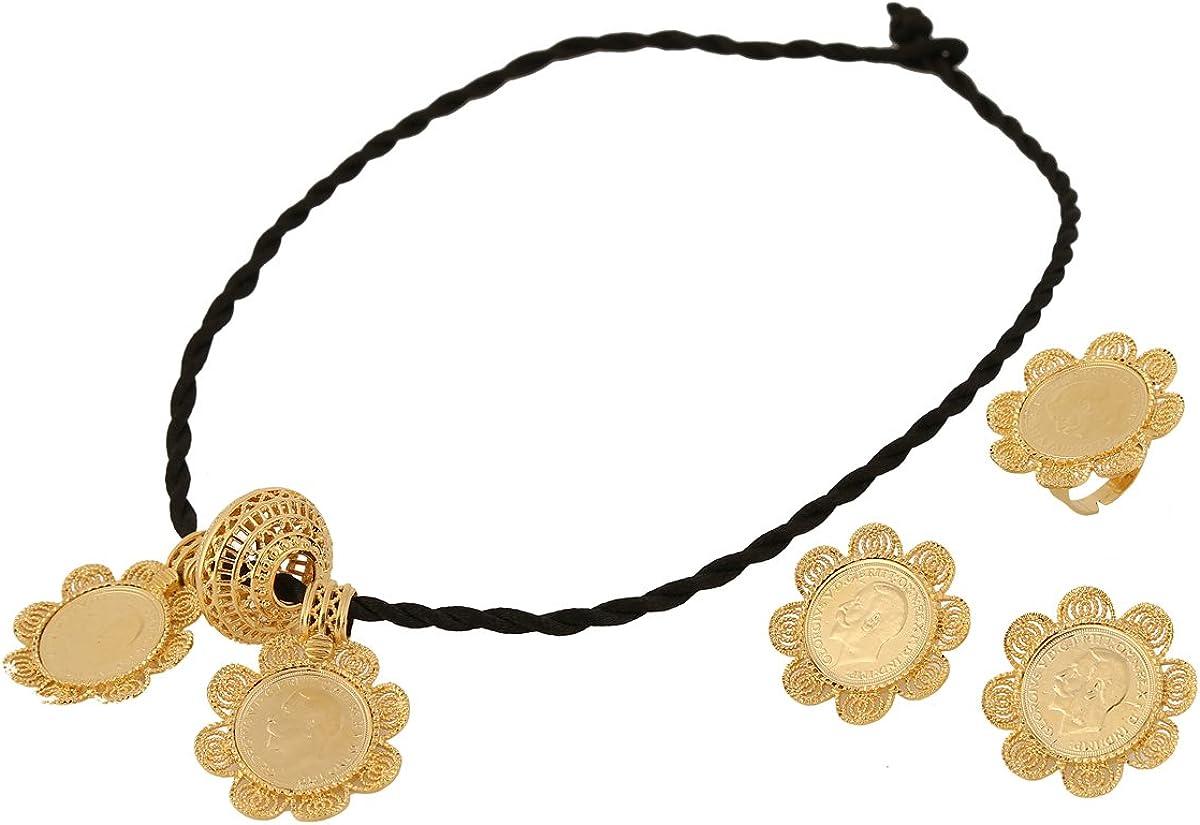 Yidan Ethiopian Coin Cross Pendant Necklace Earring Ring Jewelry Set Eritrea Habesha Wedding Jewelry