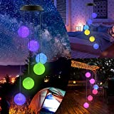 Crystal Ball Solar Wind Chimes Led Colors Changing Solar Night Lights Gift for Mom Grandmo Decorative Romantic Patio Lights for Yard Garden Home