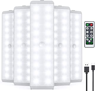 LED Closet Light, Newest 20LEDs USB Rechargeable Motion Sensor Light Under Cabinet Lighting with Remote Control, Wireless ...